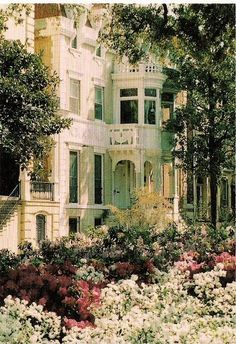 Azaleas around the home in the movie, Midnight in the Garden of Good and Evil~~the Mercer House, Savannah, Georgia. saw this house in person on our Honeymoon Savanna Georgia, Georgia Usa, Mercer House, Beautiful Homes, Beautiful Places, Tybee Island, After Life, Victorian Homes, Victorian Porch