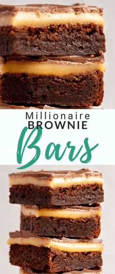These intensely indulgent Millionaire Brownies are a thing you absolutely NEED in your life! A rich and super fudgy brow Best Chocolate Desserts, Chocolate Topping, Köstliche Desserts, Best Dessert Recipes, Delicious Desserts, Chocolate Cake, Brownie Toppings, Brownie Bar, Brownie Recipes