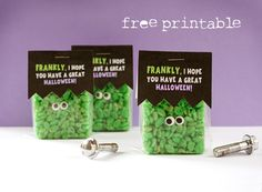 Frankenstein treats    Here's all you do. Make a batch of classic rice krispie treats, but add in green food coloring before stirring in the cereal. Allow to cool fully and cut into 2 x 2 inch squares.  Eyes from the. Dollar store, package, use the printable label, that's it
