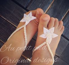 Baby barefoot sandals baby shower gift baptism by Aupetitpied. so cute. looks like a starfish. perfect for hot sweaty feet in on those awful summer days.  these will be nice & cool instead of shoes or sandals.