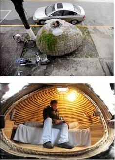 Unable to afford rent, Dai Haifei, built a tiny egg-shaped mobile house and parked it on the sidewalk outside his office at a Beijing architectural firm. Homeless Housing, Materiel Camping, Portable Shelter, Micro House, Egg Shape, Tiny House Design, Small Spaces, Building, Outdoor Decor