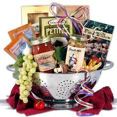 Silent auction basket = cute food basket idea w/ collander as basket.
