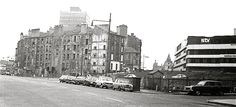 The Cowcaddens area of Glasgow in the just behind the Scottish Television (STV) building. Glasgow Scotland, Interesting Buildings, Destruction, Old Photos, 1970s, Scenery, British, Street View, Vintage Cards