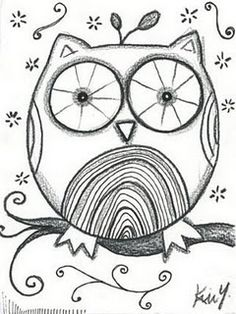 Here's a little original owl sketch I just posted on etsy. I was in the mood to sketch a whimsical owl. Thinking of trying to colorize him . Coloring Books, Coloring Pages, Owl Sketch, Whimsical Owl, Owl Art, Doodle Art, Owl Doodle, Art Lessons, Bunt
