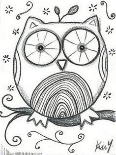 I found this whimsical little sketch on the Little Art Studio Blog (http://littleartstudio.blogspot.com/). Artist is Kim Y. #littleartstudio #owl #owls