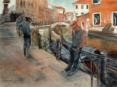 """Sergiy Lysyy """"SMS"""" Watercolor Pictures, Watercolor Art, Venice Painting, Watercolor Architecture, Moleskine, Art Oil, Graphic Illustration, City, Antiques"""
