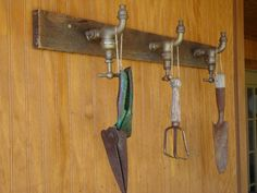 Vintage Garden Tool Rack-Repurposed Brass Faucets and Barn Wood