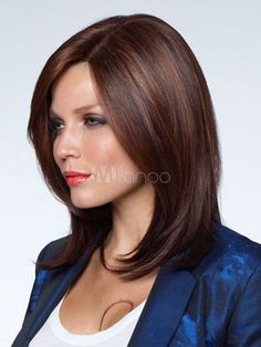 Fashion Brown Side Parting Urban Heat-resistant Fiber Medium Wig & Beauty > Women\'s Wigs > Synthetic Wigs > Medium Wigs Medium Hair Cuts, Long Hair Cuts, Medium Hair Styles, Long Hair Styles, Straight Hair, Latest Hairstyles, Wig Hairstyles, Brown Shoulder Length Hair, Haircuts For Fine Hair