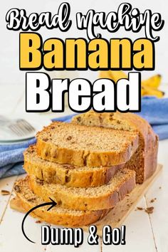 The Super Easy Bread Machine Banana Bread is a dump and go recipe and in a matter of hours will fill your home with the fresh smell of bread baking. #bananabread #breadmachine #breadmachinebananabread Bread Machine Recipes Healthy, Bread Maker Recipes, Easy Bread Recipes, Banana Bread Recipes, Cooking Recipes, Dessert Bread Machine Recipes, Bread Maker Banana Bread, Gluten Free Banana Bread, Make Banana Bread