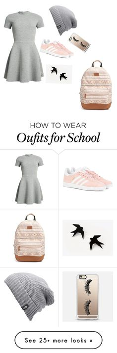 """Cute School Look"" by cassandrathered on Polyvore featuring Superdry, adidas Originals, The North Face, Casetify and Rip Curl"