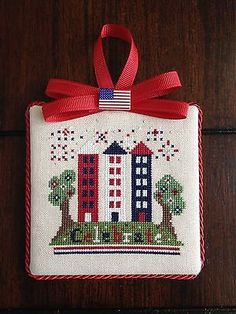 Finished Completed Patriotic Cross Stitch Ornament Ship's Manor Celebrate