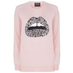 Markus Lupfer Jewelled Lara Lip Sweater ($480) ❤ liked on Polyvore featuring tops, sweaters, sequin sweater, pink sweater, pink sparkly top, lips sweater and sequin lips sweater