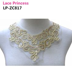 LP   ZC817 3 PCS  230*340mm DIY gold sequins polyester  mesh lace collar Craft Neckline decorative applique lace-in Lace from Home & Garden on Aliexpress.com | Alibaba Group