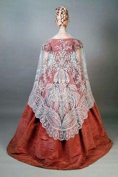 1850s moiré silk taffeta dress & Brussels lace shawl. From Kent State Univ Museum