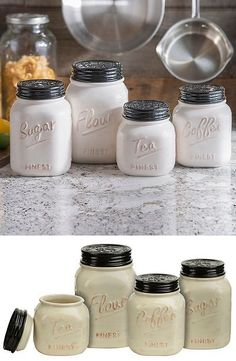 Canisters and Jars 20654: Mason Jar Canister Set 4 Pc Kitchen Counter Storage Ceramic Sugar Flour Ivory -> BUY IT NOW ONLY: $68.7 on eBay!