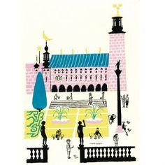 Den färgstarka Stockholms stadshus affischen är illustrerad av den svenska illustratören Olle Eksell.