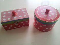 Oilily doosjes, boxes diy Pokadots, red