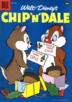 ❤️Chip and Dale ~ Christmas Vintage Disney Posters, Comics Vintage, Old Comics, Vintage Comic Books, Vintage Cartoon, Christmas Comics, Christmas Books, Disney Christmas, Christmas Cover
