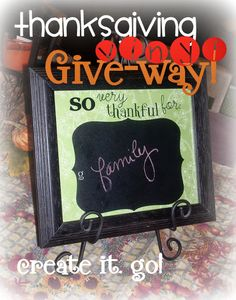 Thanksgiving Vinyl Give-Away! so thankful for with chalkboard vinyl