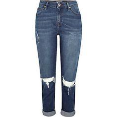 Ashley dark blue wash ripped boyfriend jeans