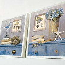 Bezrámové maľba stredomorskom štýle maliarske plátno Vtáky Ryby Mušle spálňa domáce výzdoba Wall dekoratívne umenie doprava zadarmo (Čína (pevninská časť))