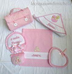 Completo fiocco nascita Mongolfiera+Sacca ospedale rosa o celeste