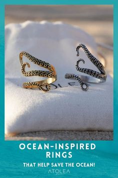 Made of solid Stainless Steel, this bewitching textured ring will look like the tentacle of an octopus that have swiftly wrapped itself around your finger. Every purchase of our ocean jewelries can help save marine animals! Contribute in saving the ocean with each of your purchase. Shop now at atoleajewelry.com