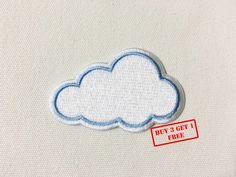 Cute Cloud Iron on Patch by SeaSandSunShop on Etsy https://www.etsy.com/listing/264936634/cute-cloud-iron-on-patch