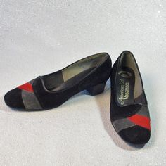 American Girl Black Red and Gray Vagamocs Suede by prettyinprague Red And Grey, Gray, 70s Vintage Fashion, Jewelry Findings, Girls Shoes, American Girl, Black Shoes, Vintage Ladies, Loafers