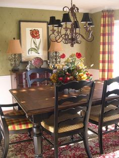 french country dining arealove the use of patterns and
