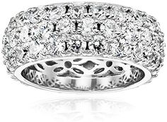 Platinum Plated Sterling Silver Swarovski Zirconia 3 Row Pave Round Cut Ring, Size 8. Platinum-plated sterling silver ring featuring three rows of pave-set Swarovski Zirconia rounds. Decorative filigree on inner band. Imported.