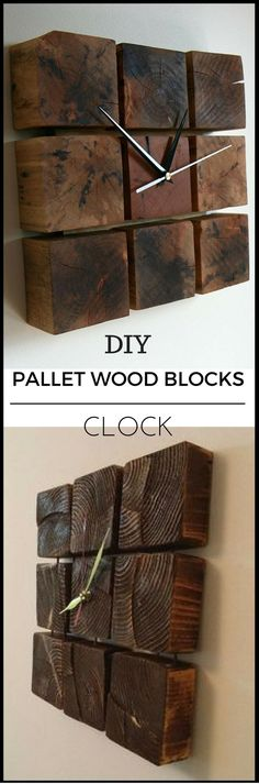 Pallet Wood Blocks Clock
