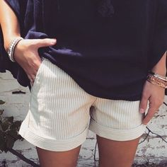 Dear John Hampton shorts. Stitch Fix shorts. 2016 Summer Fashion. Beige & white striped shorts.