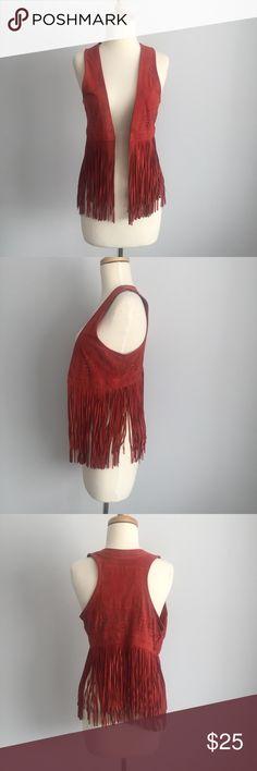 Hollister red fringe suede vest size small Hollister red fringe suede vest size small Hollister Jackets & Coats Vests