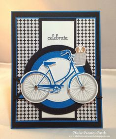 March 2015 It is pouring rain, so I had extra time to be crafty this morning! Bicycle Cards, Petal Pushers, Arts And Crafts, Paper Crafts, Stamping Up, Bicycles, Transportation, Calendar, Bike