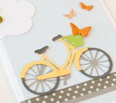 Embossed Bicycle & Butterflies Card. Make It Now with the Cricut Explore machine and Cuttlebug in Cricut Design Space.