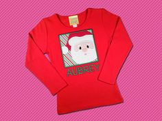 Christmas Stripes Filled Santa Box on Red Girls Top by SunbeamRoad, $24.00