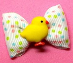 Easter Chicken Little Dog Hair Bow, White & Yellow - Dog Bows