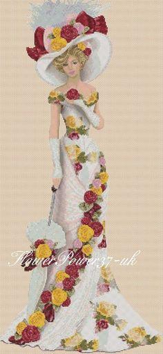 Cross stitch chart  Elegant Lady 156f full length     Flowerpower37-uk  | eBay
