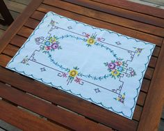Swedish vintage hand embroidered cotton tablecloth table