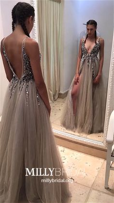 Custom Made Vogue Grey Prom Dresses Sexy Deep V Neck Grey Tulle Long Prom Dress With Slit Prom Dress Long, V-neck Prom Dress, Custom Made Prom Dress, Sexy Prom Dress, Grey Prom Dress Prom Dresses 2019 Grey Evening Dresses, Grey Prom Dress, Prom Dresses 2017, Beaded Prom Dress, Backless Prom Dresses, A Line Prom Dresses, Prom Dresses Online, Cheap Prom Dresses, Prom Party Dresses