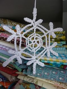 crochet snowflake. Pattern can be found on the Crochetville Snowflake board. There are lots and lots of patterns so have fun trying them all.   Crochetville Snowflakes can be found here http://www.crochetville.org/forum/showthread.php?t=92584
