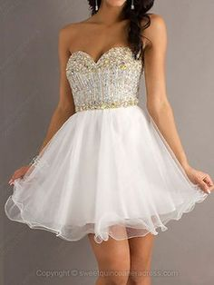 Sweetheart A-line Tulle Short/Mini Beading Sweet Sixteen Dresses -USD$129.29