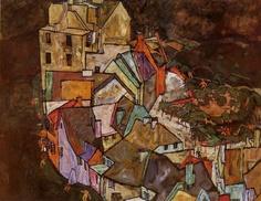 """Egon Schiele Edge of Town (Krumau Town Crescent) [Afueras de la ciudad (Creciente en el pueblo de Krumau)]"""" Óleo sobre lienzo, 109,5 x 139,5 cm., 1918. Neue Galerie am Landesmuseum, Austria"""