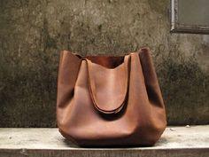 Hand-stitched Brown Leather Double Strapped Shoulder Bag (via HIDDENGEM on Supermarkethq.com)