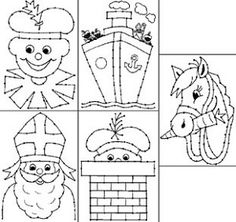 Borduurkaarten - Sint en Piet Diy For Kids, Crafts For Kids, Vogue Kids, Saint Nicolas, Embroidery Cards, Fun Activities For Kids, String Art, Coloring Pages, Kids Rugs
