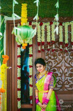 Indian Bridal Sarees, Indian Bridal Wear, Half Saree Designs, Bridal Blouse Designs, Indian Wedding Couple, Wedding Couples, Wedding Photos, Bridal Looks, Bridal Style