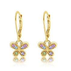 Girls Cheeky Face Colorful Ear Studs 925 Sterling Silver