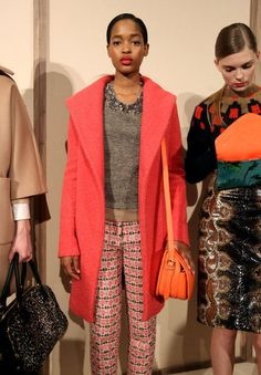 coral, grey with a bit of sparkle, pattern pants (JCrew Fall 2012)
