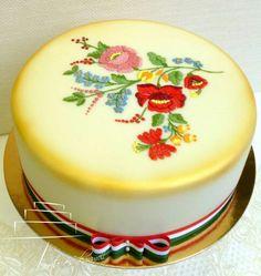 "Képtalálat a következőre: ""cakes kalocsai"" Hungarian Cake, Hungarian Recipes, Teachers Day Cake, Cake Cookies, Cupcakes, Cake Art, Art Cakes, Folk Fashion, Sweet Desserts"